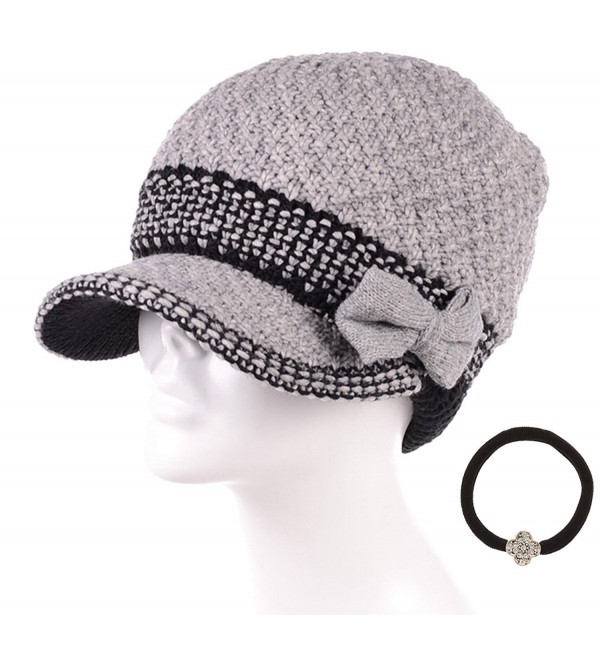 MIRMARU Women's Winter Cable Knitted Beret Visor Beanie Hat with Scrunchy. - Bowknot-grey - C012N7AL2SP
