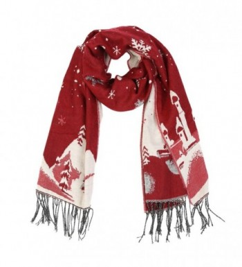 Christmas Reversible Oversized Thickened Pashmina - Purplish Red - CG187Z00YCX