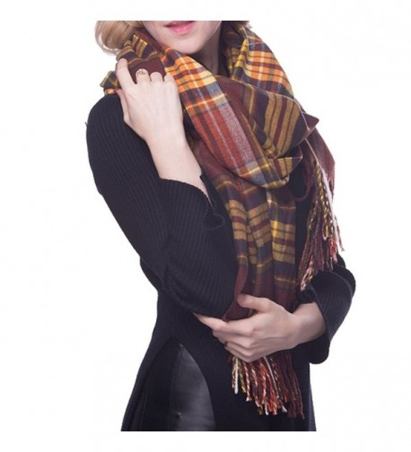 N'joy Long Shawl Scarf- Tartan- Solid Color Blanket- Plaid Blanket with Fringe Trims - Plaid-05 - C012MBTSZQP