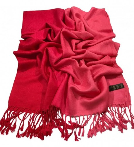 Two Tone Design Shawl Scarf Wrap Stole Throw Shawls Pashminas CJ Apparel NEW - Red Two Tone - CK182HRC434
