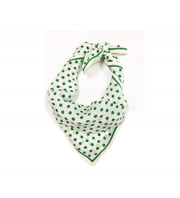 SilRiver Womens100 Neckerchief Headdress Accessories - green dot - CD185UA0Q2X