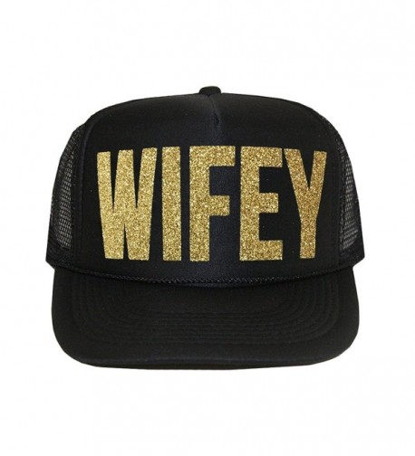 Classy Bride Wifey Trucker Hat by (Black and Glitter Gold) - CD12NA0RP2G