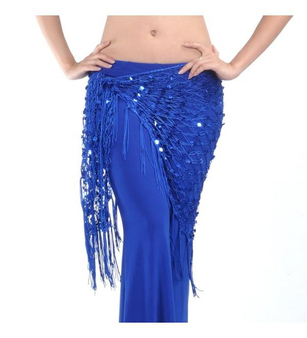 BellyLady Belly Dance Hip Scarf- Egyptian Triangle Shawl - Navy Blue - CY12F64ZRWH