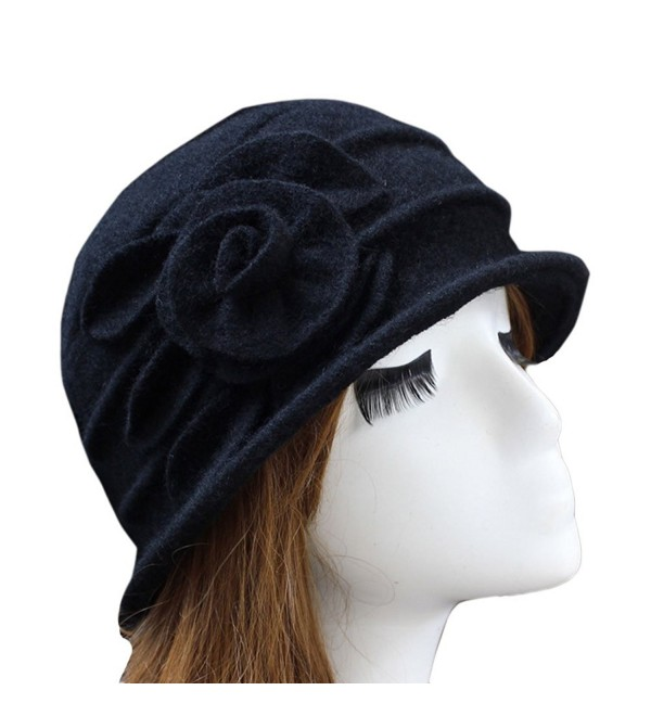 e815c4e6bee27 Ealafee Women 100% Wool Solid Color Round Top Cloche Beret Cap Flower  Fedora Hat -