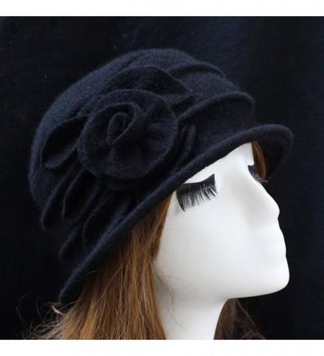 d07b8ed8fa026 Ealafee Women 100% Wool Solid Color Round Top Cloche Beret Cap Flower  Fedora Hat -. Ealafee Fedora Cloche Floppy Vintage