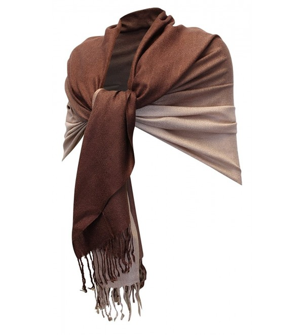 Enimay Women's Silky Persian Pashmina Scarf Two-Tone Soft Shawl Wrap Stole - Two Tone Brown - CP1206ROUXB