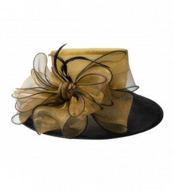 Lawliet Noble Womens Dress Hats Wide Brim Church Wedding Kentucky Derby Floral A045 - Gold - C011N64CXBX