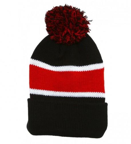 Winter Striped Beanie with Pom - Black/Red - C8110TVVYOX