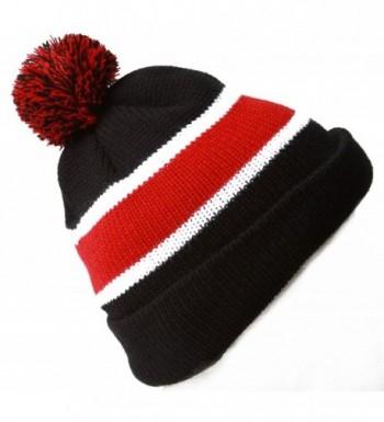 Winter Striped Beanie Pom Black