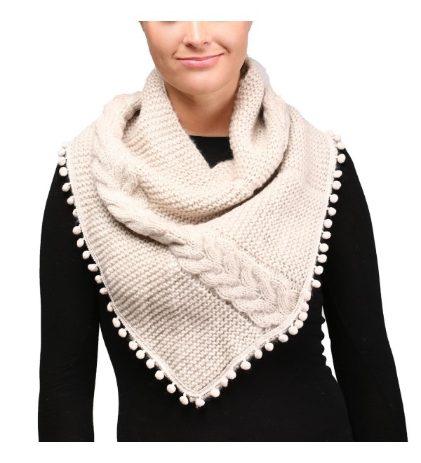 APPARELISM Women's Chunky Knitted Loop Tube Infinity Collar Scarf with Pom Pom. - Beige - C3186X9989M