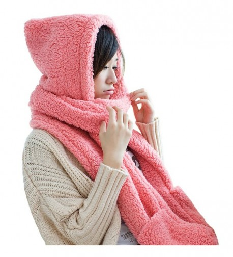 Women Warm Soft Fleece Hooded Scarf Hat Mitten all in one with Pocket for Winter - Pink - CI187R0I8E5