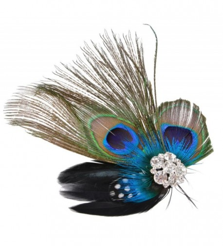 Fascigirl Fascinator Peacock Feather Headdress Wedding Hair Clip Headwear for Women - C9126PFTRK9