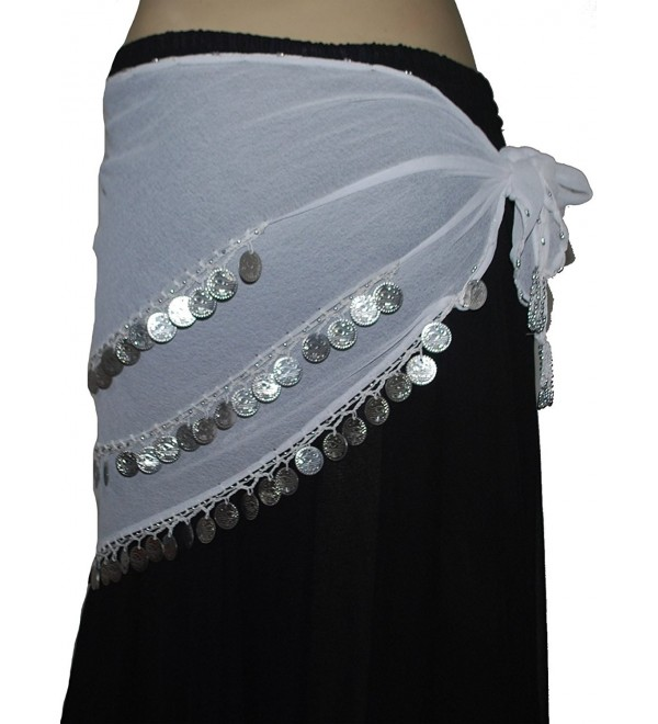 Wevez 3 Rows Belly Dance Costume Silver Coin Hip Scarf / Belly Dance Belt - White - C412O2P5R2Q
