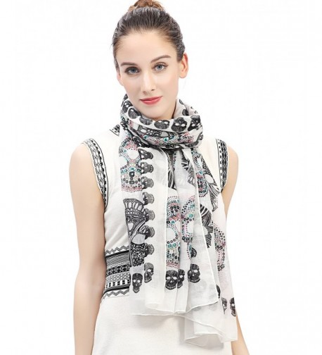 Lina & Lily Multi Color Sugar Skull Print Women's Large Scarf Lightweight - White - CG127XPSCT7