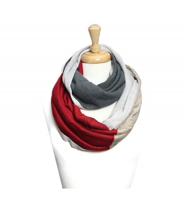 Trendy Knitted Color Block Infinity Scarf - Beige - CC11I97NRIF