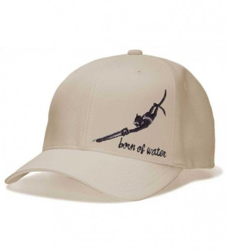 Spearfishing Hat: Flexfit Fitted Cap: Born of Water Apparel - Natural - C5117RY9K3H