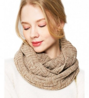 EUPHIE YING Women Men Thick Winter Infinity Circle Loop Scarf- Warm and Soft - Beige - CB1867SQN3T