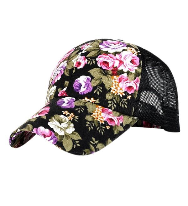 ZLS ZLSLZ Women's Mesh Lace Flower Print Sun Hat Floral Trucker Baseball Cap Hat - 3black - CH183KSL4OA