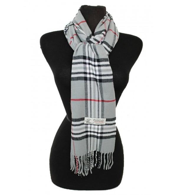 Fashion Secret Soft Checked Plaid Cashmere Feel with Twisted Fringe Scarf Wrap Shawl - Gray - CI128RQW1BB