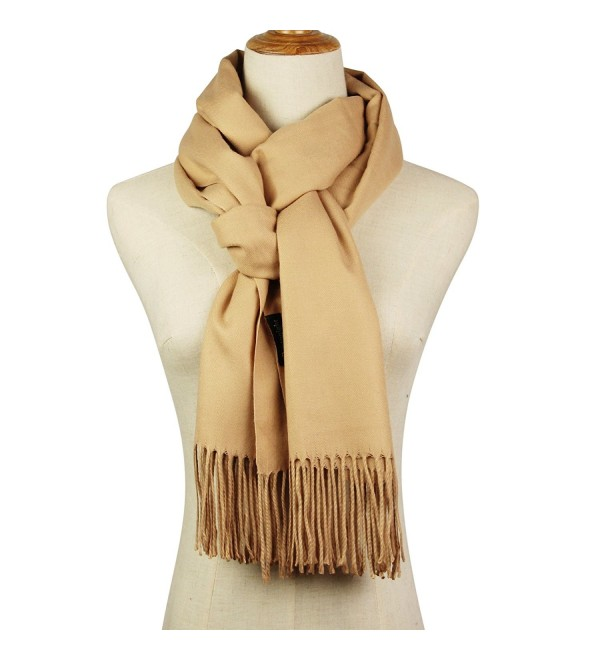 Cashmere Feel Blanket Scarf Super Soft with Tassel Solid Color Warm Shawl for Women and Men - Beige - CD188NKNXAX