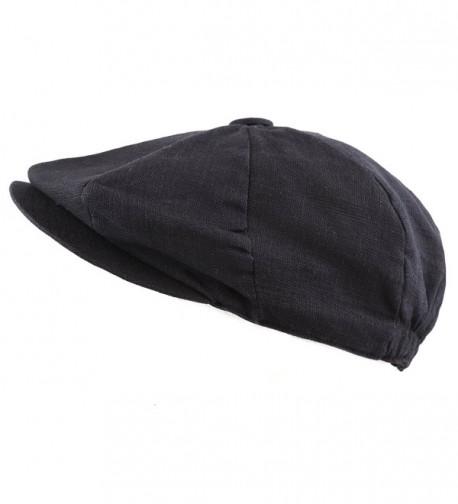 The Hat Depot Men's Linen Paisley Lining 8 Panel Applejack Gatsby Newsboy Ivy Hat - Black - CF12EUMK8VL