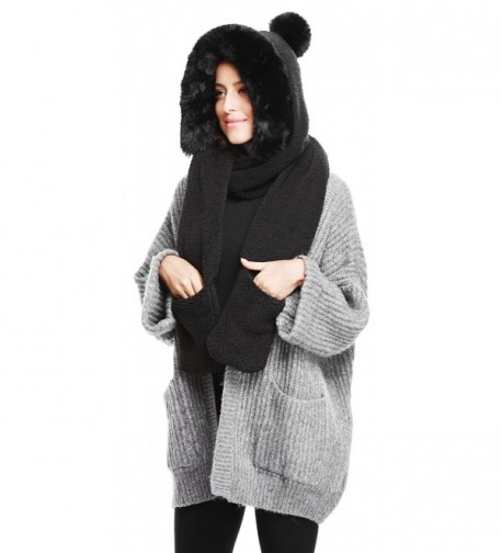 Soft Winter Warm Hooded Scarf Headscarf Neckwarmer Hoodie Hat - Pom Pom_black - C0186W3YC8K