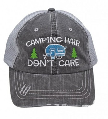 Turquoise Camping Hair Don't Care Women Embroidered Trucker Style Cap Hat - CK18283R4QK