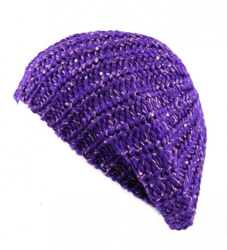 The Hat Depot 700hat51 Sequin Knit Beret Tam One Size Hat - Purple2 - CU12DR229RB