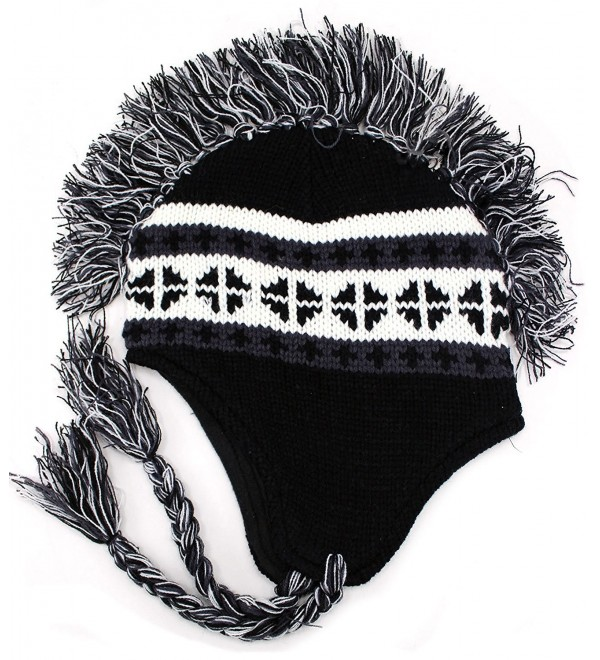 Enimay Men's Women's Mohawk Beanie Cold Weather Winter Hat Skull Cap - Black - C211QA5OT2F