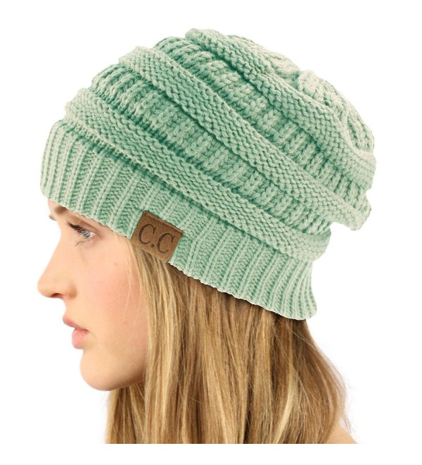 Unisex Winter Chunky Soft Stretch Cable Knit Slouch Beanie Skully Ski Hat - Mint - CF11KMGJ9B5