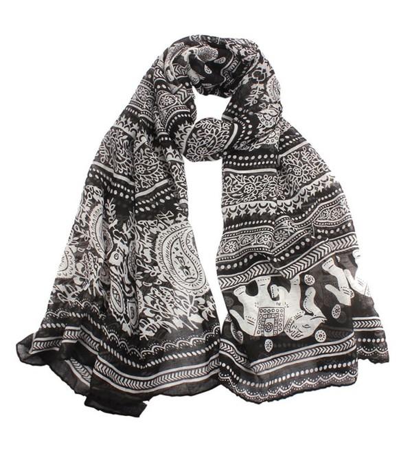 Tonee Neck Stole Elephant Print Long Scarf Shawl Wrap Pashmina - CK11PD8D20B