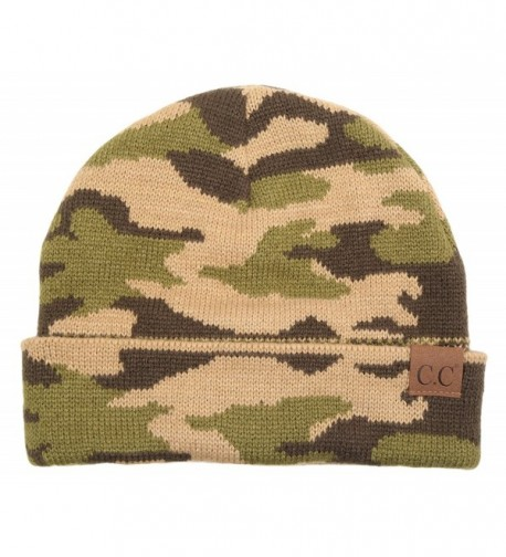 Funky Junque's Camouflage Camo Print Knit Cuff Beanie Warm Winter Hat Skully Cap - CZ12NG82547