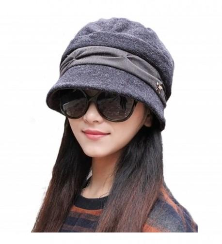 doublebulls hats Knitted Cloche Hat Pleated Flapper Womens Ladies Winter Hat Short Brim Cap-Multicolor - Grey - CB187W7YDRR