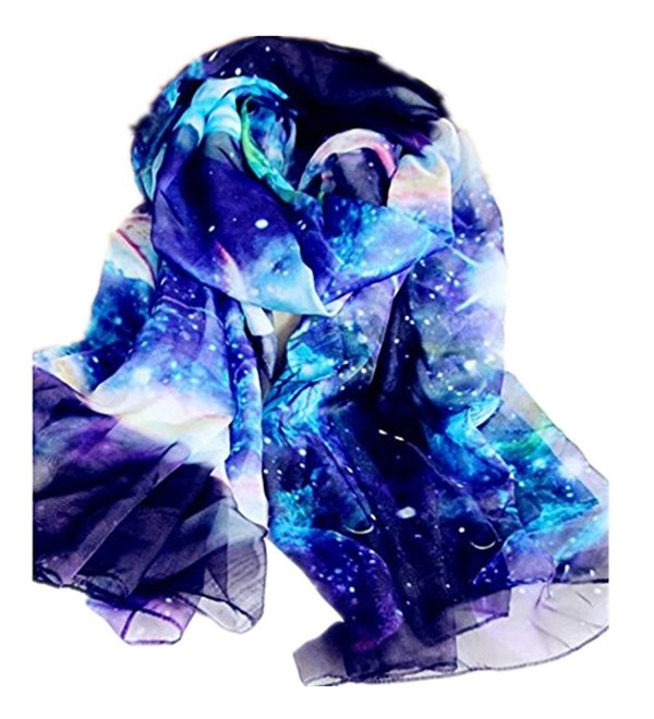 JOYJULY Starry Sky Galaxy Star Space Printing Chiffon Long Wrap Scarves with Gift Box - Blue - CY12N3WT22J