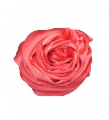 Elegant Large 100% SILK SATIN Shawl / Scarf / Wrap Wedding- Bridal- Bridesmaid- Cover Up - Coral - CK186GAE3QS