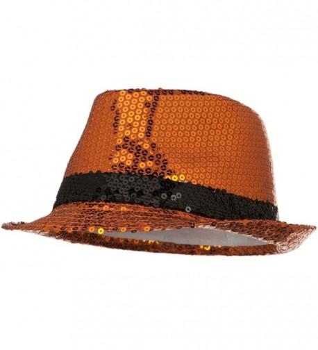 Shiny Sequin Fedora Hat - Orange Black W18S51F - C2110J66AFP