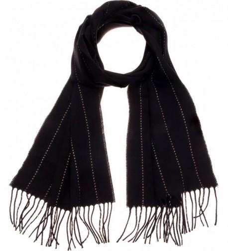 SilverHooks Chevron Stripes Soft & Warm Cashmere Scarf w/ Gift Box - Black & White Pinstripe - CN11IGX8YNP