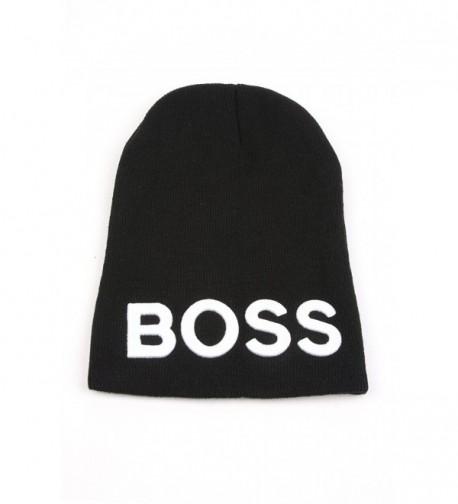 """Pop Fashionwear Unisex Warm Acrylic """"BOSS"""" Beanie Skull Hat 352HB - C611GSJD8NF"""