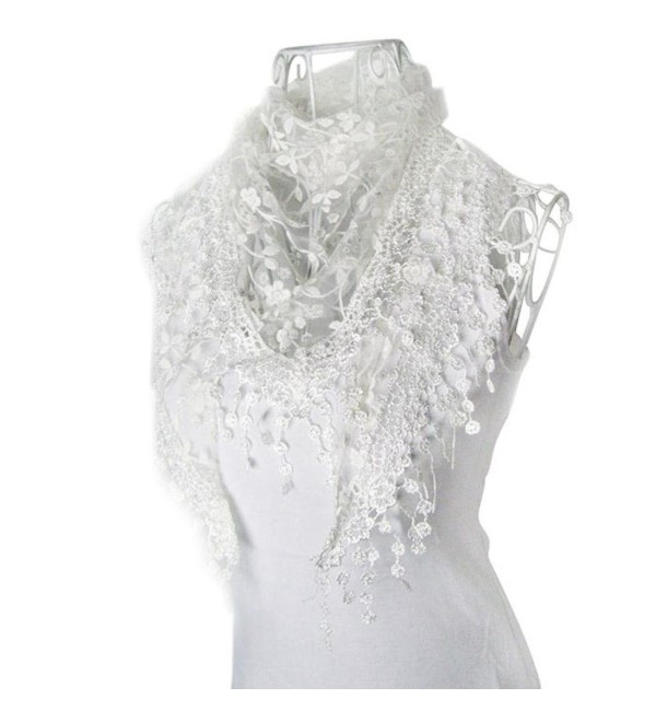 DZT1968 Autumn Winter Women Girl Sweet Lace Triangle Shawl Scarf With Tassels (White) - CT12599UJEF