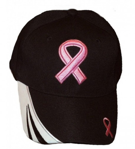 Breast Cancer Awareness Pink Ribbon Baseball Cap Hat / Pink On Black - CI11WRSNBAP