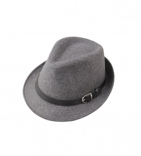 Dantiya Men's Formal Triby Fedora Hat Caps with Belts - Grey - CC11AAOW85V