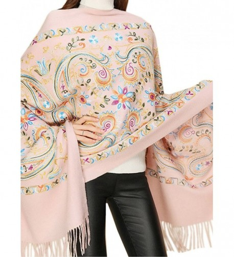 QYQS Womens Pashmina Delicate Embroidered - Pink - CP186W2RR49