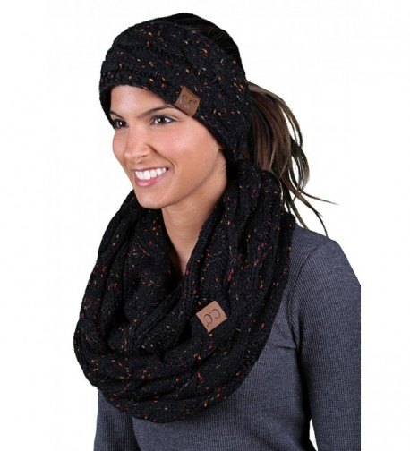 CC Confetti Cable Knit Fuzzy Lined Head Wrap With Matching Infinity Scarf - A Confetti Black Design - CX188ZY5IAG