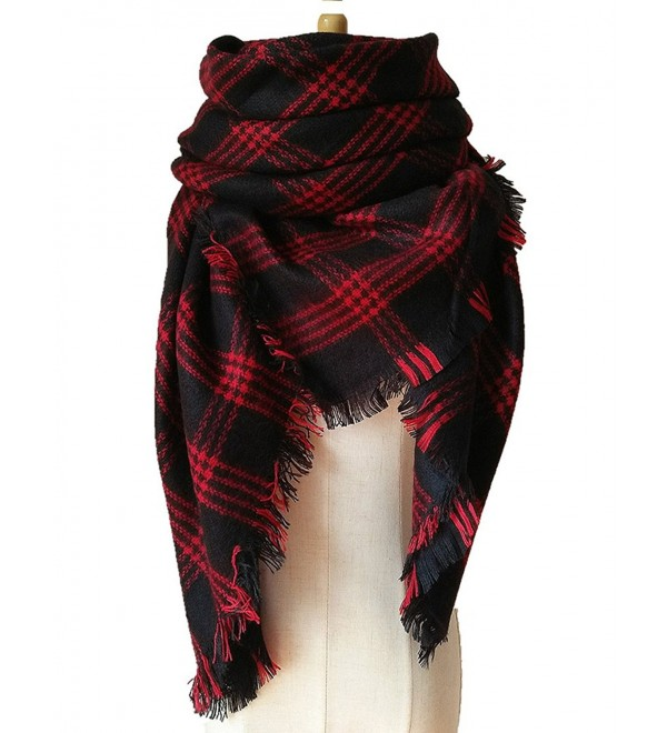 Selighting Women's Oversized Square Plaid Scarf Tartan Blanket Wrap Shawl - 14 Black and Red - CQ186ZCY0W0