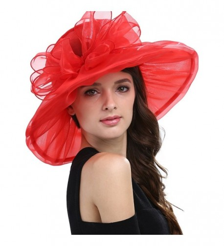 Janey&Rubbins Women's Kentucky Derby Party Hats Church Organza Dress Caps - Red - CJ124ASWCNB