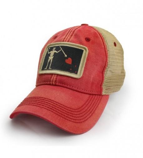 Blackbeard Pirate Flag Trucker Hat- Nautical Red - C312O636XCP