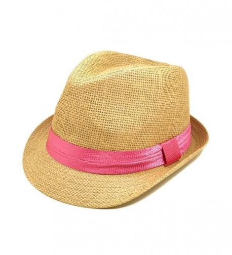 Classic Tan Fedora Straw Hat with Pink Band - CE11076FX7J