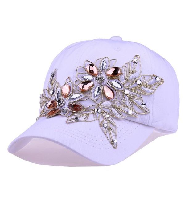 CRUOXIBB Women Cotton Cap Rhinestone Flower Fashion Baseball Hat - White - CK183KDXM9I