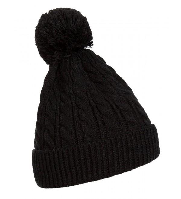 Kangqifen Women's Slouchy Beanie Cap Winter Ski Knitted Pom Pom Hat - Black - CM12O10QN0R
