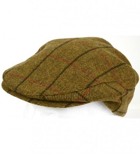 Mens Shooting / Flat / Peak Cap. 100% Pure Wool. Made in Irish Woolen Mill. Brown Check - CO11NIWI0ZL